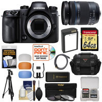 Samsung NX1 Smart Wi-Fi 4K Digital Camera Body with 18-200mm Lens + 64GB Card + Battery + Case + Tripod + 3 Filters + Kit with SAMSUNG USA Warranty