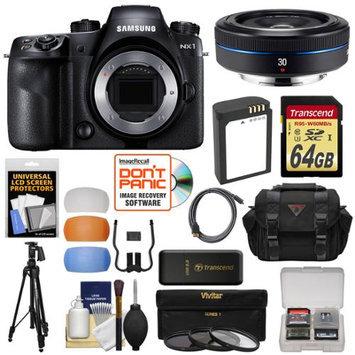 Samsung NX1 Smart Wi-Fi 4K Digital Camera Body with 30mm f/2.0 Lens + 64GB Card + Battery + Case + Tripod + 3 Filters + Kit with SAMSUNG USA Warranty