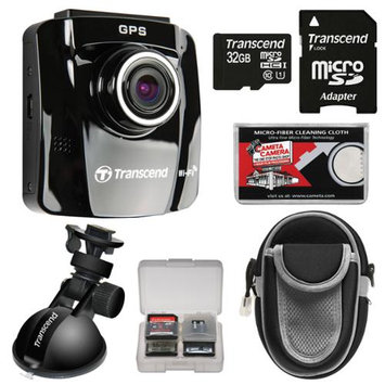 Transcend DrivePro 220 1080p HD GPS Car Dashboard Video Recorder with Suction Cup with 32GB Card + Case + Kit