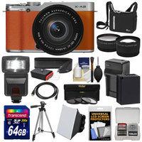 Fujifilm X-A2 Wi-Fi Digital Camera & 16-50mm XC Lens (Brown) with 64GB Card + Battery & Charger + Case + Flash + Tripod + Strap + Tele/Wide Lens Kit with FUJIFILM USA Warranty
