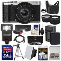 Fujifilm X-A2 Wi-Fi Digital Camera & 16-50mm XC Lens (Silver) with 64GB Card + Battery & Charger + Case + Flash + Tripod + Strap + Tele/Wide Lens Kit with FUJIFILM USA Warranty