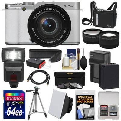 Fujifilm X-A2 Wi-Fi Digital Camera & 16-50mm XC Lens (White) with 64GB Card + Battery & Charger + Case + Flash + Tripod + Strap + Tele/Wide Lens Kit with FUJIFILM USA Warranty