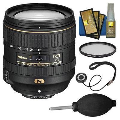 Nikon 16-80mm f/2.8-4E VR DX AF-S ED Zoom-Nikkor Lens with Filter + Kit for D3200, D3300, D5300, D5500, D7100, D7200 Camera with NIKON USA Warranty