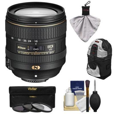 Nikon 16-80mm f/2.8-4E VR DX AF-S ED Zoom-Nikkor Lens with 3 UV/CPL/ND8 Filters + Backpack + Kit for D3200, D3300, D5300, D5500, D7100, D7200 Camera with NIKON USA Warranty