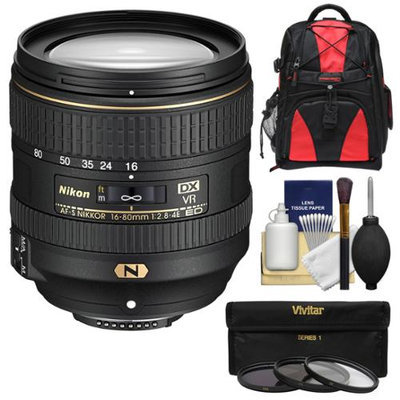 Nikon 16-80mm f/2.8-4E VR DX AF-S ED Zoom-Nikkor Lens with 3 UV/CPL/ND8 Filters + Backpack + Kit for D3200, D3300, D5300, D5500, D7100, D7200 Camera with NIKON USA Warranty