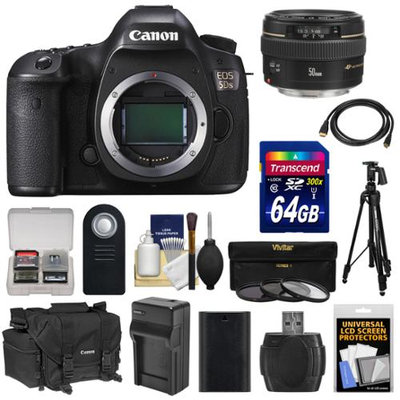 Canon EOS 5DS Digital SLR Camera Body with 50mm f/1.4 Lens + 64GB Card + Battery & Charger + Case + Filters + Tripod + Kit with CANON USA Warranty