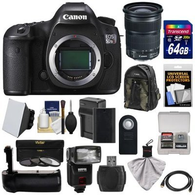 Canon EOS 5DS R Digital SLR Camera Body with 24-105mm STM Lens + 64GB Card + Battery & Charger + Backpack + Grip + Flash + Kit with CANON USA Warranty