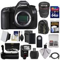 Canon EOS 5DS R Digital SLR Camera Body with 24-105mm f/4 L Lens + 64GB Card + Battery & Charger + Backpack + Grip + Flash + Kit with CANON USA Warranty