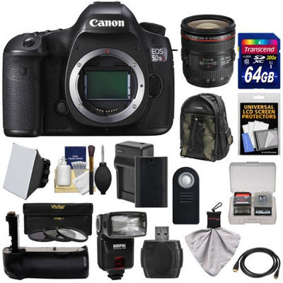 Canon EOS 5DS R Digital SLR Camera Body with 24-70mm f/4L IS Lens + 64GB Card + Battery & Charger + Backpack + Grip + Flash + Kit with CANON USA Warranty