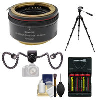 Savage Macro Art Variable Auto-Extension Tube with Dual Arm LED Light + Batteries & Charger + Macro Tripod + Kit for Canon EOS Rebel T5, T5i, T6i, T6s, SL1, 70D, 5DS, 5D III, 6D, 7D Mark II Camera with SAVAGE USA Warranty