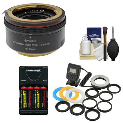 Savage Macro Art Variable Auto-Extension Tube with Macro Ring Light + Batteries & Charger + Kit for Canon EOS Rebel T5, T5i, T6i, T6s, SL1, 70D, 5DS, 5D III, 6D, 7D Mark II Camera with SAVAGE USA Warranty