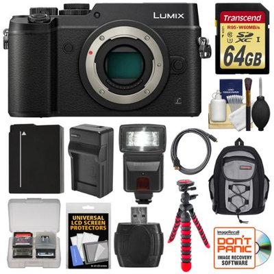 Panasonic Lumix DMC-GX8 4K Wi-Fi Digital Camera Body (Black) with 64GB Card + Battery + Charger + Backpack + Flex Tripod + Flash + Kit with PANASONIC USA Warranty