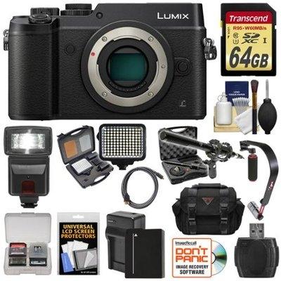 Panasonic Lumix DMC-GX8 4K Wi-Fi Digital Camera Body (Black) with 64GB Card + Battery + Charger + Case + Flash + Stabilizer + LED Light + Mic + Kit with PANASONIC USA Warranty