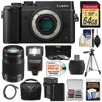 Panasonic Lumix DMC-GX8 4K Wi-Fi Digital Camera Body (Black) with 35-100mm f/2.8 OIS Lens + 64GB Card + Battery + Charger + Case + Flash + Tripod Kit with PANASONIC USA Warranty
