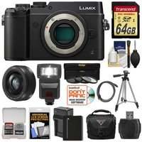Panasonic Lumix DMC-GX8 4K Wi-Fi Digital Camera Body (Black) with 20mm f/1.7 Lens + 64GB Card + Battery + Charger + Case + Flash + Tripod + Kit with PANASONIC USA Warranty