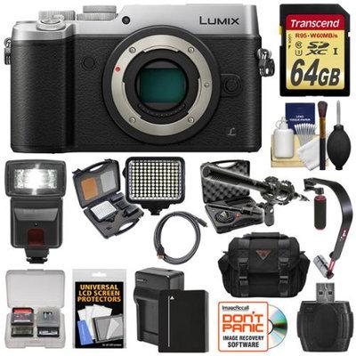Panasonic Lumix DMC-GX8 4K Wi-Fi Digital Camera Body (Silver) with 64GB Card + Battery + Charger + Case + Flash + Stabilizer + LED Light + Mic + Kit with PANASONIC USA Warranty