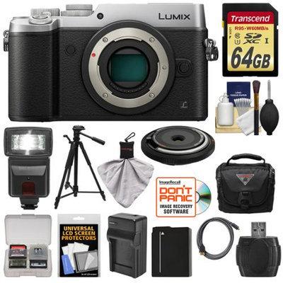 Panasonic Lumix DMC-GX8 4K Wi-Fi Digital Camera Body (Silver) with 15mm Lens + 64GB Card + Battery + Charger + Case + Flash + Tripod + Kit with PANASONIC USA Warranty