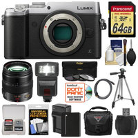 Panasonic Lumix DMC-GX8 4K Wi-Fi Digital Camera Body (Silver) with 12-35mm f/2.8 OIS Lens + 64GB Card + Battery + Charger + Case + Flash + Tripod + Kit with PANASONIC USA Warranty