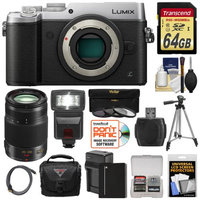 Panasonic Lumix DMC-GX8 4K Wi-Fi Digital Camera Body (Silver) with 35-100mm f/2.8 OIS Lens + 64GB Card + Battery + Charger + Case + Flash + Tripod Kit with PANASONIC USA Warranty