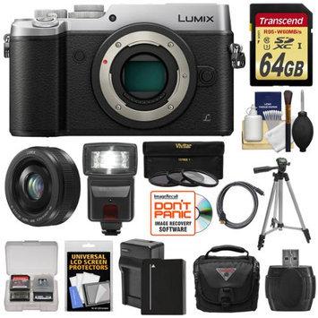 Panasonic Lumix DMC-GX8 4K Wi-Fi Digital Camera Body (Silver) with 20mm f/1.7 Lens + 64GB Card + Battery + Charger + Case + Flash + Tripod + Kit with PANASONIC USA Warranty