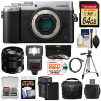 Panasonic Lumix DMC-GX8 4K Wi-Fi Digital Camera Body (Silver) with 35-100mm OIS Lens + 64GB Card + Battery + Charger + Case + Flash + Tripod + Kit with PANASONIC USA Warranty