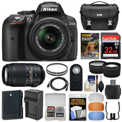 Nikon D5300 Digital SLR Camera & 18-55mm VR II & 55-300mm VR DX Lens, 32GB, DVD & Case + Battery & Charger + Filters + Diffusers + Tele/Wide Lens Kit with NIKON USA Warranty