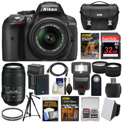Nikon D5300 Digital SLR Camera & 18-55mm VR II & 55-300mm VR DX Lens, 32GB, DVD & Case + Battery & Charger + Filters + Flash + Tripod + 2 Lens Kit with NIKON USA Warranty