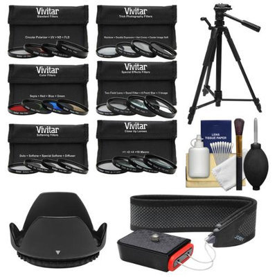 Vivitar Series 1 24-Piece Ultimate Filter Set (52mm) with UV, CPL, FLD, ND, 4 Sp. Effects, 4 Trick, 4 Softening, 4 Color, 4 Macro + Lens Hood + Tripod + Camera Strap Kit with VIVITAR USA Warranty