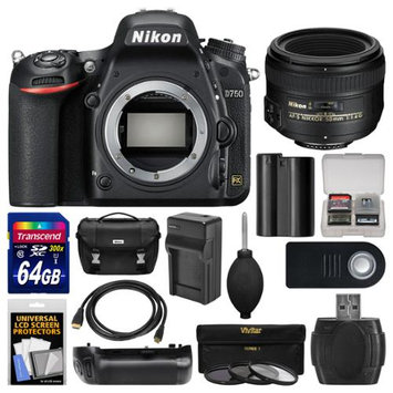 Nikon D750 Digital SLR Camera Body with 50mm f/1.4G AF-S Lens + 64GB Card + Case + Battery & Charger + Grip + 3 Filters + Kit with NIKON USA Warranty