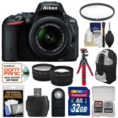 Nikon D5500 Wi-Fi Digital SLR Camera & 18-55mm VR DX Lens (Black) - Factory Refurbished with 32GB Card + Backpack + Flex Tripod + Filter + Tele/Wide Lens Kit