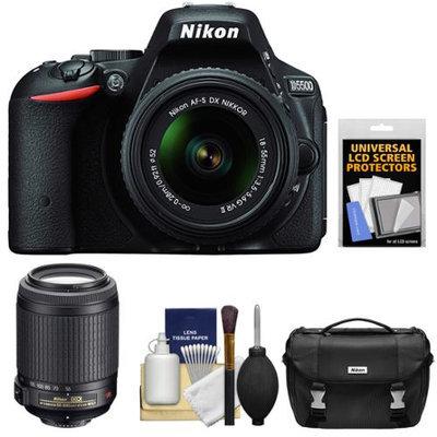 Nikon D5500 Wi-Fi Digital SLR Camera & 18-55mm VR DX Lens (Black) - Factory Refurbished with 55-200mm VR Zoom Lens + Case + Kit