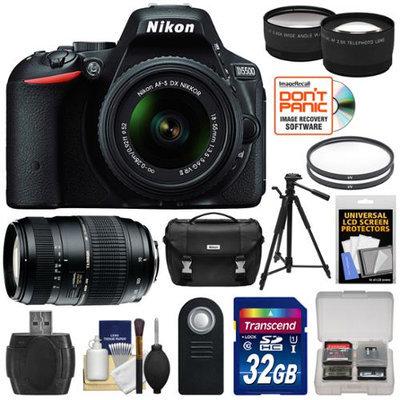 Nikon D5500 Wi-Fi Digital SLR Camera & 18-55mm VR DX Lens (Black) - Factory Refurbished with 70-300mm Zoom Lens + 32GB Card + Case + Filters + Tripod + Kit