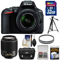 Nikon D5500 Wi-Fi Digital SLR Camera & 18-55mm VR DX Lens (Black) - Factory Refurbished with 55-200mm Zoom Lens + 32GB Card + Case + Tripod + Kit