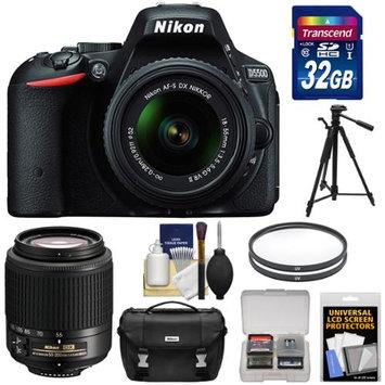 Nikon D5500 Wi-Fi Digital SLR Camera & 18-55mm VR DX Lens (Black) - Factory Refurbished with 55-200mm Zoom Lens + 32GB Card + Case + Tripod + Kit