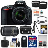 Nikon D5500 Wi-Fi Digital SLR Camera & 18-55mm VR DX Lens (Black) - Factory Refurbished with 55-300mm VR Lens + 32GB Card + Case + Filters + Tripod + Tele/Wide Lens Kit