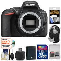 Nikon D5500 Wi-Fi Digital SLR Camera Body (Black) - Factory Refurbished with 32GB Card + Battery + Backpack Case + Kit