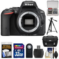 Nikon D5500 Wi-Fi Digital SLR Camera Body (Black) - Factory Refurbished with 32GB Card + Battery + Case + Tripod + Kit