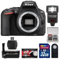 Nikon D5500 Wi-Fi Digital SLR Camera Body (Black) - Factory Refurbished with 32GB Card + Battery Grip + Flash + Kit
