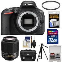 Nikon D5500 Wi-Fi Digital SLR Camera Body (Black) - Factory Refurbished with 55-200mm Zoom Lens + 32GB Card + Case + Tripod + Kit