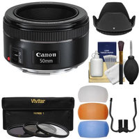 Canon EF 50mm f/1.8 STM Lens with 3 UV/CPL/ND8 Filters + Hood + Diffusers + Kit