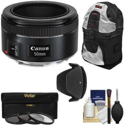 Canon EF 50mm f/1.8 STM Lens with 3 UV/CPL/ND8 Filters + Hood + Backpack + Kit