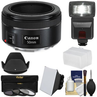 Canon EF 50mm f/1.8 STM Lens with Flash & Diffusers + 3 UV/CPL/ND8 Filters + Hood + Kit