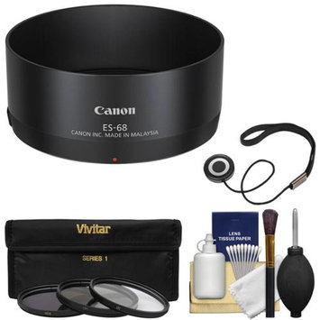 Canon ES-68 Lens Hood for EF 50mm f/1.8 STM with 3 Filters (UV/CPL/ND8) + Accessory Kit