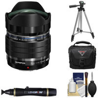 Olympus M.Zuiko 8mm f/1.8 PRO ED Fisheye Lens (Black) with Tripod + Case + Cleaning Kit