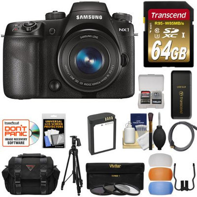Samsung NX1 Smart Wi-Fi 4K Digital Camera & 16-50mm PZ Lens with 64GB Card + Battery + Tripod + Case + Filters + Kit with SAMSUNG USA Warranty
