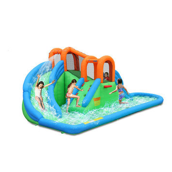 Bounceland Inflatable Island Water Slides - Green/Blue/Orange