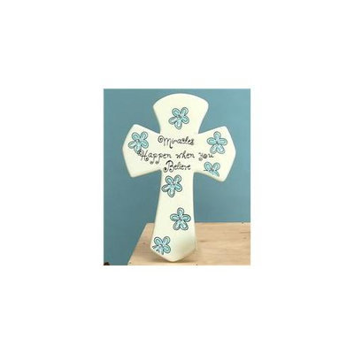 Unison Gifts SGA-029 9 H in. Blue Tabletop Cross - Miracles