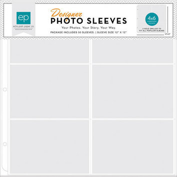 Echo Park Paper Photo Freedom Photo Sleeves Protectors 12inX12in 50/Pkg(6) 4inX6in Horizontal Pockets