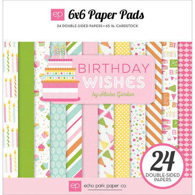 Echo Park Paper Echo Park DoubleSided Paper Pad 6inX6in 24/PkgBirthday Wishes Girl