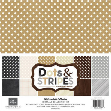 Echo Park Paper Echo Park Collection Kit 12inX12inNeutrals Dots & Stripes